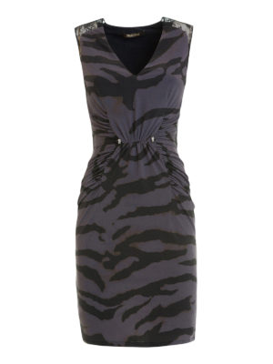 Roberto Cavalli: cocktail dresses - Zebra print fitted sheath dress