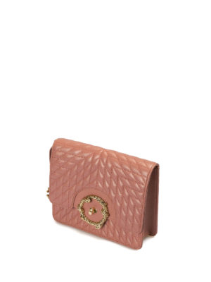 Roberto Cavalli: cross body bags online - Quilted leather nude cross body bag