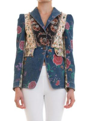 Roberto Cavalli: denim jacket online - Patterned denim patchwork blazer