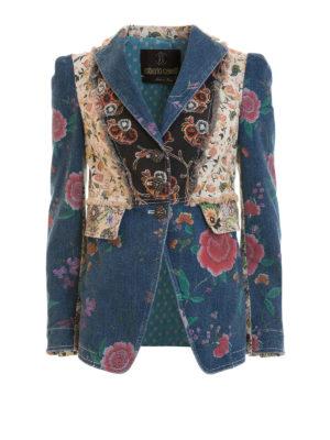 Roberto Cavalli: denim jacket - Patterned denim patchwork blazer