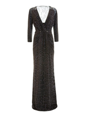 Roberto Cavalli: evening dresses - Lace inserts animal print gown