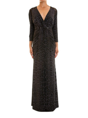 Roberto Cavalli: evening dresses online - Lace inserts animal print gown