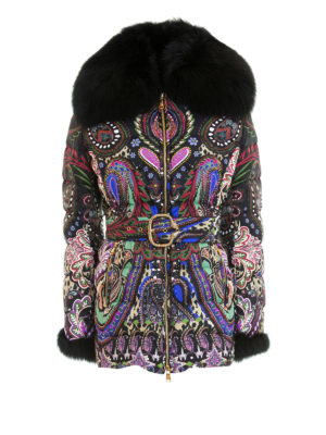 Roberto Cavalli: Fur & Shearling Coats - Fur collar baroque puffer jacket
