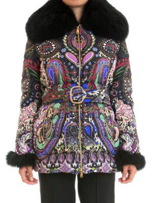 Roberto Cavalli: Fur & Shearling Coats online - Fur collar baroque puffer jacket