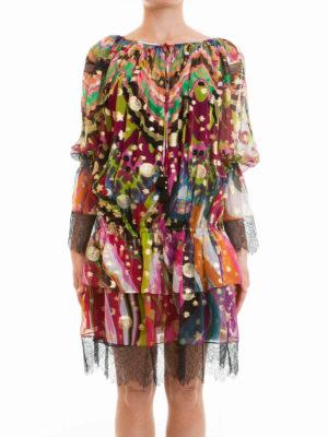 Roberto Cavalli: knee length dresses online - Dreamscape flounced dress