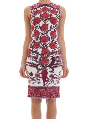 Roberto Cavalli: knee length dresses online - Rose print jersey dress