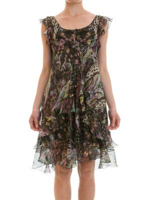 Roberto Cavalli: knee length dresses online - Ruched fil coupé silk dress