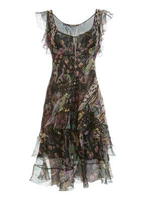 Roberto Cavalli: knee length dresses - Ruched fil coupé silk dress