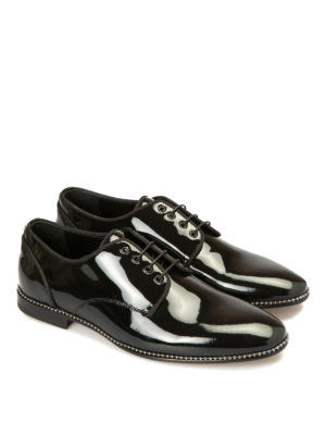 Roberto Cavalli: lace-ups shoes online - Studs trimmed patent Derby shoes
