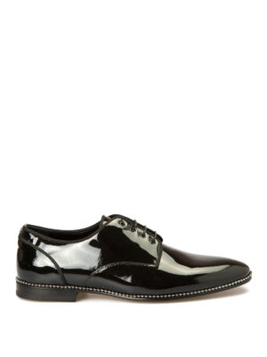 Roberto Cavalli: lace-ups shoes - Studs trimmed patent Derby shoes