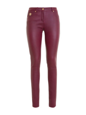Roberto Cavalli: leather trousers - Logo detail stretch nappa trousers