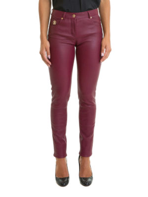 Roberto Cavalli: leather trousers online - Logo detail stretch nappa trousers