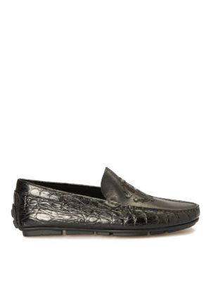 Roberto Cavalli: Loafers & Slippers - Croco print black leather loafers