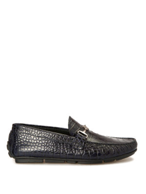Roberto Cavalli: Loafers & Slippers - Croco print blue leather loafers