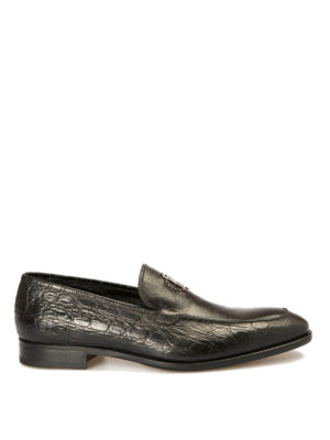 Roberto Cavalli: Loafers & Slippers - Croco print lamé leather loafers