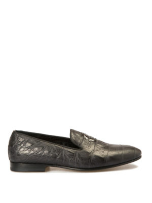 Roberto Cavalli: Loafers & Slippers - Kimbo croco print leather loafers