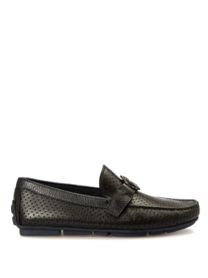 Roberto Cavalli: Loafers & Slippers - Microperforated leather loafers