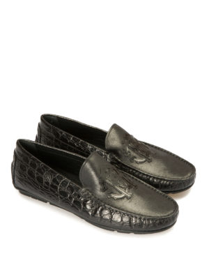 Roberto Cavalli: Loafers & Slippers online - Croco print black leather loafers
