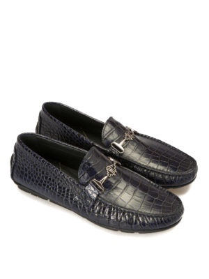 Roberto Cavalli: Loafers & Slippers online - Croco print blue leather loafers