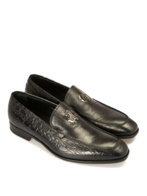 Roberto Cavalli: Loafers & Slippers online - Croco print lamé leather loafers