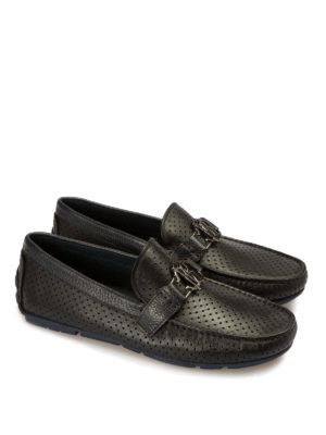 Roberto Cavalli: Loafers & Slippers online - Microperforated leather loafers
