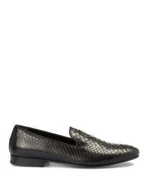 ROBERTO CAVALLI: Mocassini e slippers - Mocassini in pelle di pitone con logo