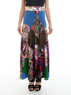 Roberto Cavalli: Long skirts online - Enchanted garden silk skirt