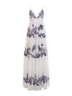 Roberto Cavalli: maxi dresses - Embroidered cotton sleeveless dress