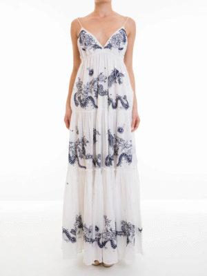 Roberto Cavalli: maxi dresses online - Embroidered cotton sleeveless dress