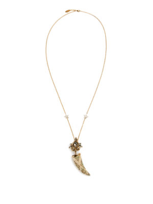 Roberto Cavalli: Necklaces & Chokers - Strass horn charm with necklace