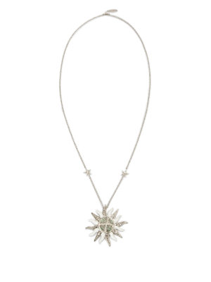 Roberto Cavalli: Necklaces & Chokers - Strass sun charm with necklace