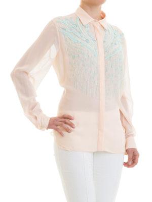 ROBERTO CAVALLI: camicie online - Camicia in seta rosa e decorazioni
