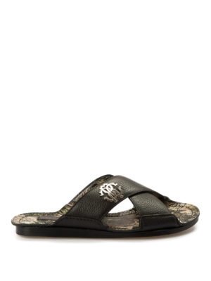 Roberto Cavalli: sandals - Criss cross leather slippers