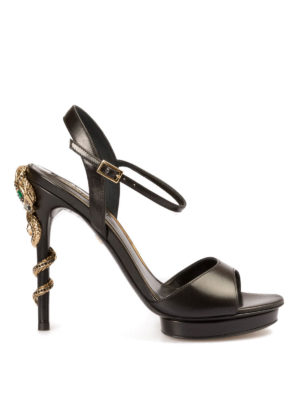 Roberto Cavalli: sandals - Jewel snake heeled sandals
