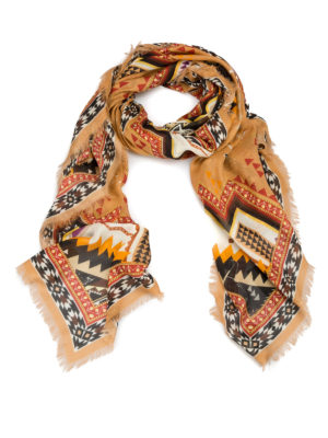Roberto Cavalli: scarves - Aztec print fringed foulard