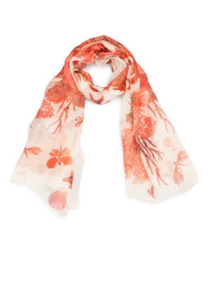Roberto Cavalli: scarves - Coral Reef red silk scarf