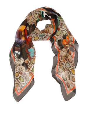 Roberto Cavalli: scarves - Mariposa and Wild Python silk scarf
