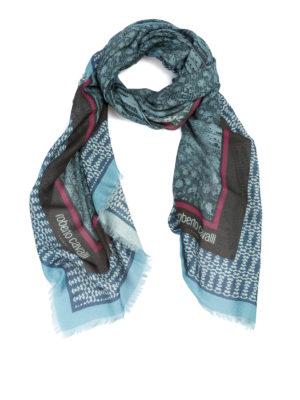 ROBERTO CAVALLI: sciarpe e foulard - Foulard in misto lana con stampa pitone