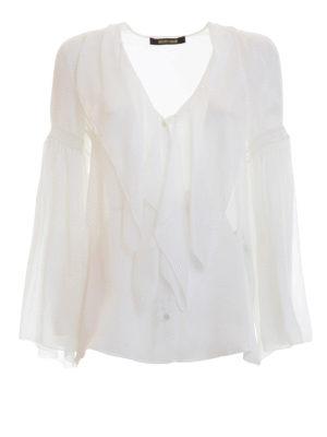 Roberto Cavalli: shirts - Frilled silk V-neck shirt