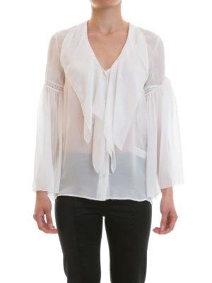 Roberto Cavalli: shirts online - Frilled silk V-neck shirt