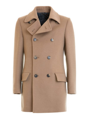 Roberto Cavalli: short coats - Camel cloth double-breasted coat