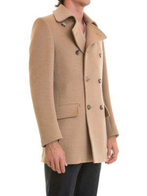 Roberto Cavalli: short coats online - Camel cloth double-breasted coat