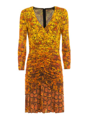 Roberto Cavalli: short dresses - Flared skirt printed sheath dress