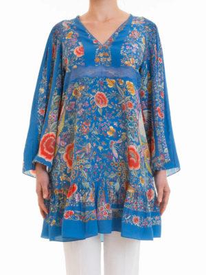 Roberto Cavalli: short dresses online - Enchanted Garden silk dress
