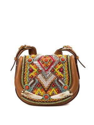 Roberto Cavalli: shoulder bags - Ethnic embellished saddle bag