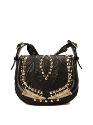 Roberto Cavalli: shoulder bags - Horn stud embellished saddle bag