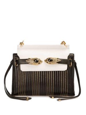 Roberto Cavalli: shoulder bags - Jewel snake straps leather bag