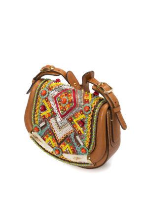 Roberto Cavalli: shoulder bags online - Ethnic embellished saddle bag