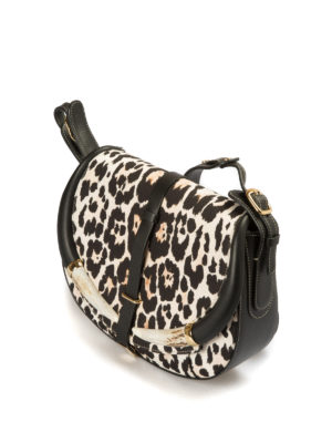 Roberto Cavalli: shoulder bags online - Printed canvas and leather horn bag