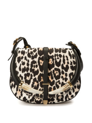 Roberto Cavalli: shoulder bags - Printed canvas and leather horn bag